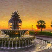 Sunrise Over Pinapple Fountain Poster