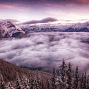 Sunrise Over The Canadian Rockies Poster