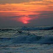 Sunrise Over Waves Poster