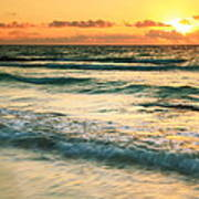Sunrise Seascape Tulum Mexico Poster
