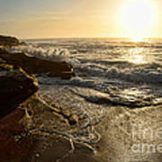 Sunrise Waves On The Rocks By Kaye Menner Poster