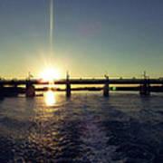 Sunset And Bridge Poster