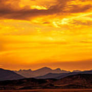 Sunset And Smoke Covered Mountains Poster