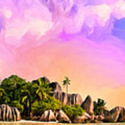 Sunset At Anse Source Argent Seychelles Poster