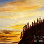 Sunset At Bass Harbor Poster