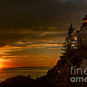 Sunset At Bass Harbor Lighthouse Poster