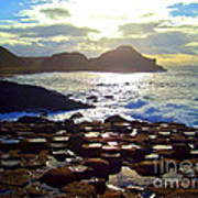 sunset at Giant's Causeway Poster