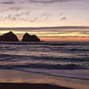Sunset At Holywell Bay Poster