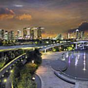 Sunset At Marina Barrage Poster