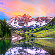 Sunset At Maroon Bells And Maroon Lake Aspen Co Poster by James O Thompson