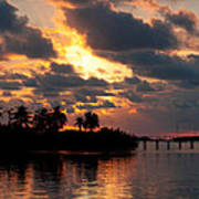 Sunset At Mitchells Keys Villas Poster by Michelle Wiarda