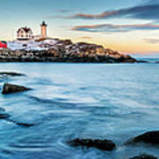 Sunset At Nubble Light-cape Neddick Maine Poster by Thomas Schoeller