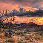 Sunset At Painted Hills In Oregon Poster