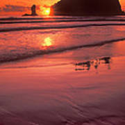 Sunset At Second Beach Olympic National Park Poster
