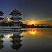 Sunset At Singapore Chinese Garden Poster
