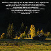 Sunset At The Cabin With Scripture Poster