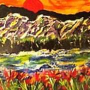 Sunset Behind Dark Hills Poster