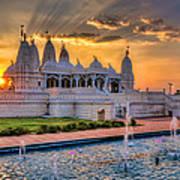 Sunset Behind The Mandir Poster