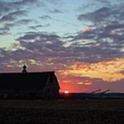 Sunset By The Barn Poster