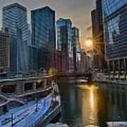 Sunset Chicago Poster