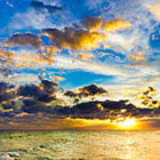 Sunset Cloudscape Silver Lining-gold Blue Pensacola Sky Poster