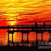 Sunset Fishing At The Pier Poster