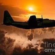Sunset Flight C-130 Poster by Wernher Krutein