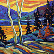Sunset Geo Landscape Original Oil Painting By Prankearts Poster