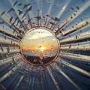Adelaide Beach Sunset Glass Poster