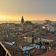 Sunset In Calahorra From The Bell Tower Of Saint Andrew Church Poster