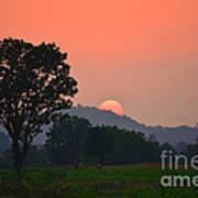 Sunset In Countryside Poster