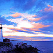 Sunset In Fork Williams Lighthouse Park Portland Maine State Poster