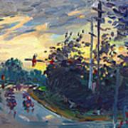 Sunset In Military Highway Norfolk Va Poster