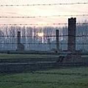 Sunset In The Former Death Camp Auschwitz Birkenau Poland Poster