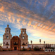 Sunset Majesty Mission San Xavier Del Bac Poster