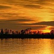 Sunset - Ohio River Poster by Sandy Keeton