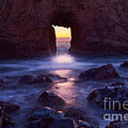 Sunset On Arch Rock In Pfeiffer Beach Big Sur In California. Poster