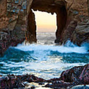 Sunset On Arch Rock In Pfeiffer Beach Big Sur. Poster