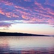 Sunset On Cayuga Lake Cornell Sailing Center Ithaca New York Poster