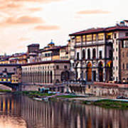 Sunset On Ponte Vecchio In Florence Poster by Susan Schmitz