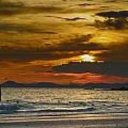 Sunset On The Beach At Krabi Thailand Poster