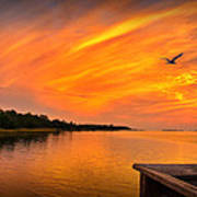 Sunset On The Cape Fear River Poster