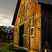 Sunset On The Horse Barn Poster