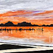 Sunset On The Lake By Lucia Van Hemert Poster
