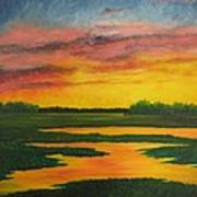 Sunset On The Marsh Poster
