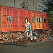 Sunset On Vintage Rustic Caboose Poster