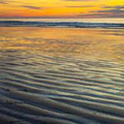 Sunset On Wet Sandy Beach Seascape Fine Art Photography Print  Poster