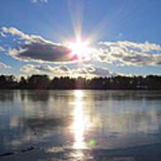 Sunset Ove A Frozen Pond Poster