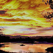 Sunset Over A Country Pond Poster