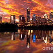 Sunset Over Austin Poster